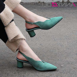 high leather gloves NZ - Cheap Shoes Annymoli Women Glove High Heels Kid Suede Thick High Heels Slingbacks Genuine Leather Buckle Pumps Ladies Size 33-43