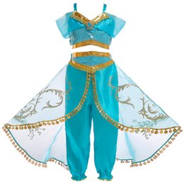 c8ca630e3 Girls Aladdin's Lamp Jasmine Belly Dance Cosplay Costumes girls Princess Christmas  Dresses kids Halloween Costumes for Children