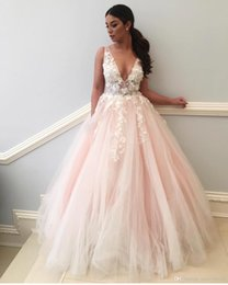 $enCountryForm.capitalKeyWord NZ - Blushing Pink Tulle A-line Long Prom Dresses 2019 Hottest Sexy See Through Bodice Low Back Puffy Skirt Teens Formal Prom Party Gowns