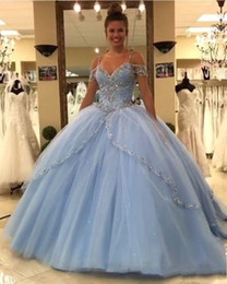Discount pink lace dress for quinceanera - Light Sky Blue Ball Gown Quinceanera Dresses 2019 Cap Sleeves Spaghetti Beading Crystal Princess Prom Party Dresses For