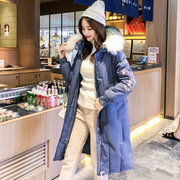 Wholesale womens flowered jackets resale online - 2019 Fashion Flower Embroidery Women Winter Jacket Cotton Padded Warm Thicken Big Fur Collar Long Coats Parka Womens Jackets