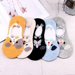 $enCountryForm.capitalKeyWord NZ - Cartoon Harajuku Animal Design Women Cotton Boat Socks Invisible Sock Cotton Spring Summer Low Cut Soft Ankle Socks