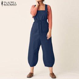 de00fef2fe6 ZANZEA 2019 Summer Jumpsuits Women Strappy Cotton Linen Rompers Ladies  Overalls Casual Loose Suspenders Solid Lantern Pants 5XL