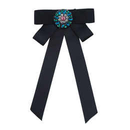 Fashion Crystal Tie Australia - Newest Fashion Crystal Flower Bowknot Cloth Bow Brooches For Women Clip Up Pins Collar Party Tie