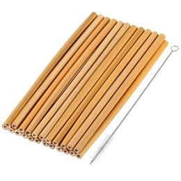 plastic alternatives NZ - 20 Pieces 7.5 inch Reusable Bamboo Drinking Straws Alternative to Plastic Kids Straws Includes 2 Pieces Nylon Cleaning Brushes