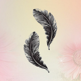NEW 1PC feather Image Temporary Tattoos Stickers Sexy Harajuku Waterproof Temporary Tattoo For Man Woman Fake Tattoo Stickers from gold crown for bride suppliers