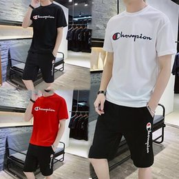 Brands t shirts Boys online shopping - Champion Men Tracksuit Mens T shirt And Shorts Set Designer t shirt Shorts Suit Brand Outfits Summer Shorts Gym Casual Clothing M XL C71603