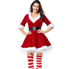 ladies red tutu Australia - 2019 New European and American Style Christmas V-neck Tutu Lady Dress Christmas Woman Party Dress Cute and Sweet Cosplay Costume