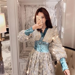 66e726fa7fa Elegant Women s Tweed Dress 2018 Vintage V neck Velvet Patchwork Frings  Wool MIni Dress Winter Ladies Tassel Gown Tunic