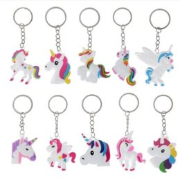 Discount kids showers - Unicorn Party Rubber Bangle Key Chains Kids Favors Birthday Bracelet Baby Shower DIY Colorful horse Party Decor Supplies