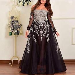 $enCountryForm.capitalKeyWord NZ - Islamic Black Evening Dresses 2019 Arabic Applique Off The Shoulder Prom Dress Sexy Party Gowns For Weddings Vestido De Festa