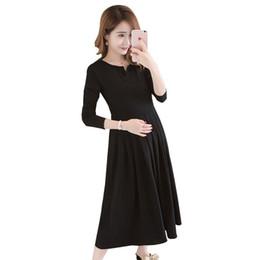 5f4527f696ad9 2019 Maternity O-neck Loose Modal Nursing Dress Pregnancy Clothing Pregnant  Women Long Sleeve Pleated Comfortable Vestido Q516