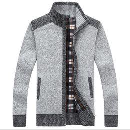 $enCountryForm.capitalKeyWord Australia - Fashion Mens Wool Cardigan Sweaters Men'S Thick Stand Collar Pullover Korean Full Sleeves Slim Solid Mens Sweaters 3XL