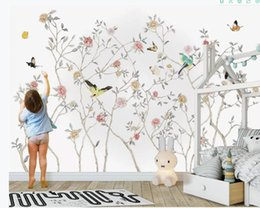 $enCountryForm.capitalKeyWord Australia - New Chinese hand-painted embossed flowers and birds living room wall flower and birds wallpapers
