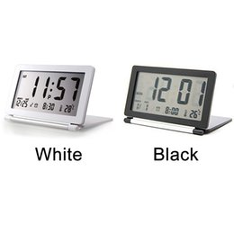 flip electronics NZ - Home Digital Electronic Temperature Desk Office LCD Display Silent Flip Alarm Clock Folding Travel Calendar Mini