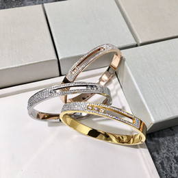Mud Chains Australia - NEW 2019 Titanium Steel Fashion OL Wind 1 4 White Mud Full Drill Titanium Steel Rose Gold Buckle Three Crystal Mobile Bracelet