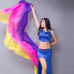 Wholesale 2019 Silk Veil Belly Dance Veils Real Silk Shawl Gradient Tie dyeing Silk Scarf Bollywood Costume for Women