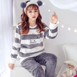 flannel nightgown cartoon Canada - Winter Women Pajama Sets Sleepwear Suit Thick Warm Coral Flannel Coral nightgown Autumn Female Long Cartoon Bear Pyjamas Sets SH190916