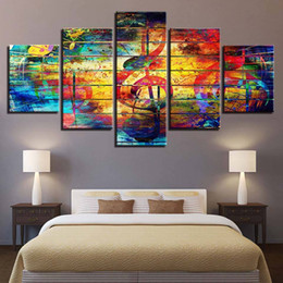Music Canvas Prints Australia - Prints Decor For Living Room Poster 5 Pcs Music Notation Abstract Painting Wall Art Modular Pictures Canvas Artworks (No Frame)