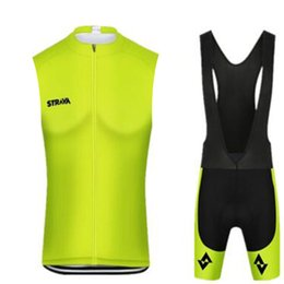 Bicycle Sales NZ - UCI Tour de France STRAVA team sleeveless Cycling jersey sets 9D bib shorts hot sale Men Breathable fast-Dry Bicycle sets