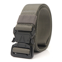 heavy metal accessories Australia - Nylon Men Belt For Jeans Tactical Gear Heavy Duty Adjustable Belts Metal Buckle Wide Male Waist Belt Hunting Accessories