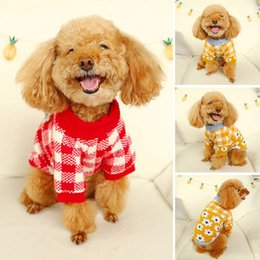 wedding dresses mardi gras colors Canada - Pet Dogs Winter Sweater Clothes Two-colors Plaid Sweater with Flowers Printing Cute Style Pet Coat For Small Medium Large Dog