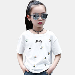 a311272667b0 Shirt For Girls Embroidery Daisy Kids T-Shirt Summer Girls Clothing 6 8 12  Years Casual Children s Costume For Teenage Girl