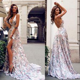 b9b063c0e52 Dress Simple Printed Australia - Sexy deep V sleeveless printed floral  evening dress hot sale ladies