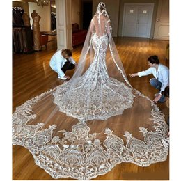 $enCountryForm.capitalKeyWord Australia - 1T One Layer Vintage Bridal Veils Cathedral Length Tulle 150cm Long Lace Wedding Veils Hot Sale Bride Accessories With Free Comb