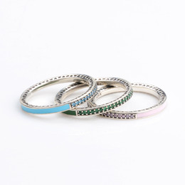 4d764615b 925 Sterling Silver Band Ring Blue\Pink\Green Enamel and Clear CZ stone  Womens Ring Logo Original box for Pandora Jewelry