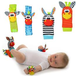 Best Baby Rattle Australia - Sozzy Lovely Cartoon Zebra New Baby Infant Soft Socks Wrist Rattle Set Educational Best Newborn Gift Toys for Children Boy Girl