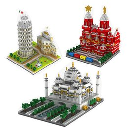 Tower Blocks Australia - YZ 3D Creative Architecture Bricks Mirco Leaning Tower of Pisa block Russia Moscow Vasily Cathedral toy For Kids Educational toy
