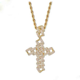 Bling Chains UK - Hip Hop Jewelry Cross Necklace Iced Out Chains Designer Mens Gold Chain Pendants Diamond Bling Style Charms Rapper Fashion