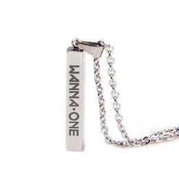 $enCountryForm.capitalKeyWord Australia - Wanna One Steel Square Necklace Stainless Steel Kpop Accessories Men Women Female Male Boy Girl Jewelry Pendant Chain Wholesale