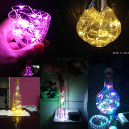 decorative corked bottles Canada - Copper Wire String Lights 2M 20LED LED Cork Shaped Bottle Light Glass LED Wine Bottle Light For Xmas Party Wedding Halloween