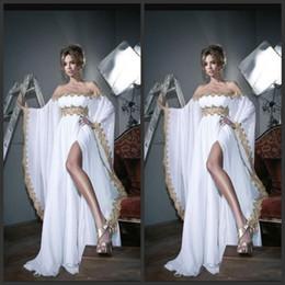 Images White Evening Dresses Australia - White Elegant Evening Formal Dresses Off Shoulder Gold Appliques Long Sleeves robes de soirée Side Split Sweep Train Women Prom Dresses