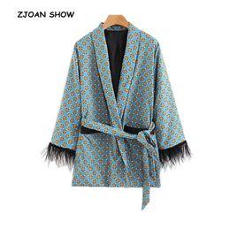 $enCountryForm.capitalKeyWord Australia - Retro Geometric Dot Print Sashes Waist Blazer Casual 2018 Woman Feather Tassel cuff Slim Fit Mid long Suit Jacket Coat Outerwear
