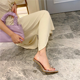 rhinestone bows Australia - Transparent sandals for women 2020ss summer ins web celebrity crystal slim heels with American pointed rhinestone bow heels