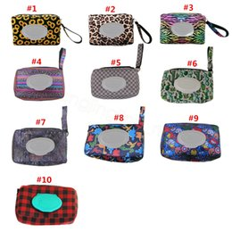 Neoprene Wet Wipes Dispenser Box printed Outdoor Travel Baby Newborn Kids Wipe tissue Case Box Bag Eco-friendly Wet Paper Towel bag FFA3247 on Sale