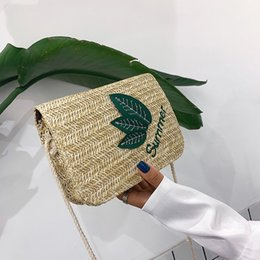 wholesale straw ladies handbags UK - Women Casual Straw Weave Shoulder Bag Handbags 2019 Ladies Fashion Leaf Tote Handbag Crossbody Handle Bags Money Phone Pouch
