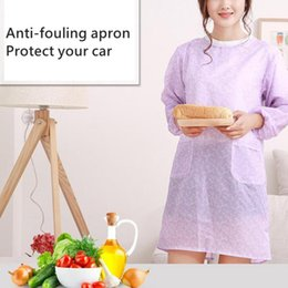 household waterproof apron UK - Women Floral Pattern Waterproof Oil-proof Long Sleeve Bib Household Kitchen Cooking Baking Apron Working Smock with Pockets