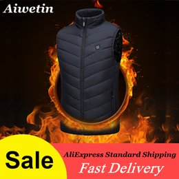 loose sports vest NZ - Aiwetin 2020 Men Outdoor USB Infrared Heating Vest Jacket Winter Flexible Electric Thermal Clothing Waistcoat For Sports Hiking