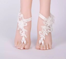 Anklet Toe Chain Australia - Lace Appliques Barefoot Beach Sandals For Weddings Starfish Anklets Chain for Beach Wedding Party Toe Ring Bridal Bridesmaid Foot Jewelry