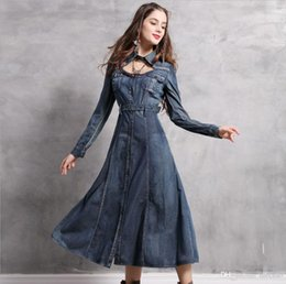 c200c1739 2019 Europe And The United States Hot New Word Collar Embroidery Denim Retro  Dress Long Skirt