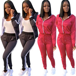 Hottest yoga pants online shopping - women hoodie legging piece set outfits long sleeve tracksuit jacket pants sportswear bodycon outerwear tights sports set hot klw2684
