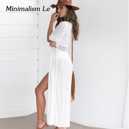0702e9934d402 Minimalism Le 2019 Swim Dress New Beach Wear Women Beach Cover Up Summer  Bandage Swimsuit Cover Up Sexy See-Through Beach Dress Y19042401