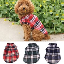 Discount wholesales clothing cheap - Pet Puppy Shirts Summer Plaid Dog Clothes Fashion Classic Shirt Cotton Clothes Small Dog Clothes Cheap Pet Apparel XS-XL