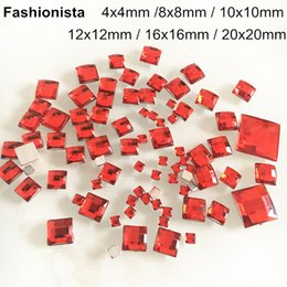 4mm Flat Back Rhinestones Australia - Red Square Acrylic Rhinestone For Scrapbook,Glue-on Flat Back Faceted Cabochon For Base Settings,4mm,8mm,10mm,12mm,16mm,20mm -WW