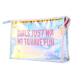 $enCountryForm.capitalKeyWord Australia - Fashion Pink Girls Just Want To Have Fun Travel Women Clear Transparent Cosmetic Bag Small Large PVC Necessary Makeup Bag Case