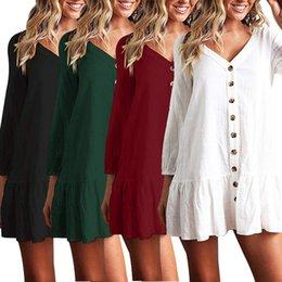 $enCountryForm.capitalKeyWord Australia - Women's Casual Loose Cotton Linen T-Shirts Long Sleeves Tee Tops Sexy V-neck Blouse Swimsuit Summer Beach Dresses
